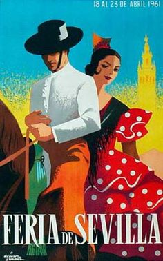 Spain 1961 Seville April Fair Poster by Retro Graphics