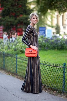 Vertically-striped maxi dress | Diego Zuko  - HarpersBAZAAR.com