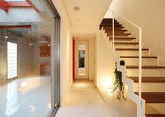 中庭下のスペースから光が届く階段
