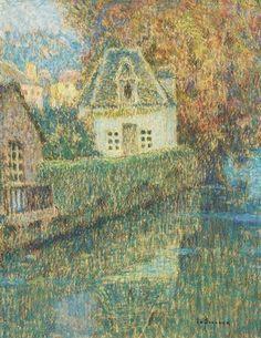 Henri Eugène Augustin le Sidaner, Le pavillon, Pontrieux - pastel