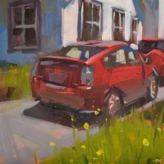 "Daily Paintworks - ""Double Red Parked"" - Original Fine Art for Sale - © Carol Marine"