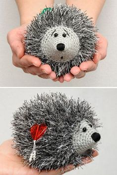 Crochet Hedgehog Heart Plush Toy Valentines Day by MeetBestKnit