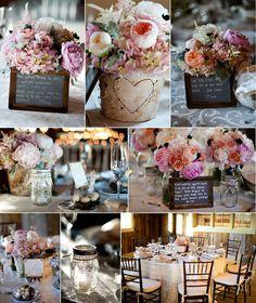 Gibbet Hill Wedding :: Katie & Sean. Mason jars for tea lights, rustic/vintage centerpieces, birch vases, bird's nest favors, chalkboard sayings.