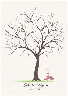 Árvore de digitais com casal de passarinhos.