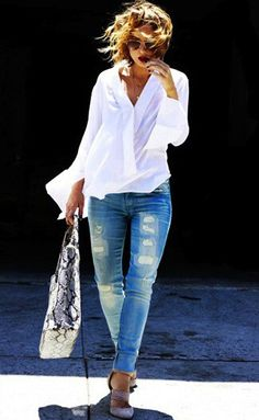 Oversized shirt w/jeans