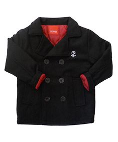 A Peacoat for kids!! Too cute! Black Double-Breasted Peacoat - Toddler & Boys | Daily deals for moms, babies and kids