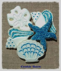 Nautical Birthday Cookies by Cookie Barn Fish Cookies, Fancy Cookies, Cut Out Cookies, Cute Cookies, Cupcake Cookies, Cupcakes, Seashell Cookies, Iced Sugar Cookies, Royal Icing Cookies