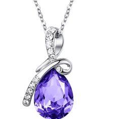 Purple Necklace Eternal Love Teardrop Swaro. Purple Crystal  Necklace Arc Iris  Jewelry Necklaces