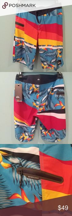 Quiksilver tropical swim boardshort short Brand new never worn. Colorful name brand boys boardshorts. One side zip pocket. Quiksilver Swim Swim Trunks