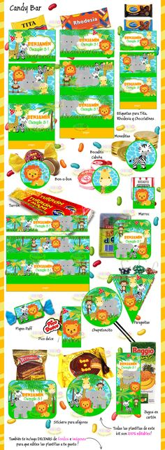 Kit Imprimible Animalitos De La Selva Invitaciones Candy Bar - $ 49,99