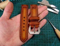 "Handmade Difues Leather Panerai ""74"" watch strap."
