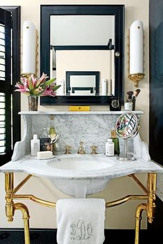 Victorian Marble and Brass Vanity Sink