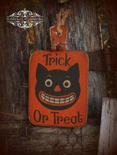 Primitive Folk Art Halloween Welcome Wood by GoldieLooWoodworks, $18.00