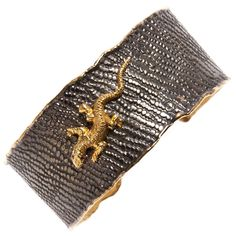 Gold Iguana Black Rhodium Cuff | From a unique collection of vintage cuff bracelets at https://www.1stdibs.com/jewelry/bracelets/cuff-bracelets/