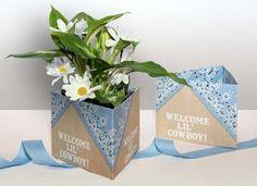 Blue Bandana Centerpiece Theme Wrap to go around small plant or flower arrangement- Paper Salsa