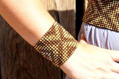 Diamond Pattern Seed Bead Stretch Bracelet by RuralHaze on Etsy, $14.95