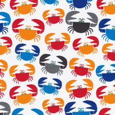 Cloud9 Organic Cotton Fabric/Ed Emberly Crab Fabric/Sewing Material for Cloths/White with Orange,Red,Blue,Gray/ Modern Quilt Fabric/1 Yard