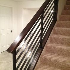 Walk-In Closet Railing - Horizontal Metal in Matte Black with Wood Handrail and Metal Newel Wooden Staircase Railing, Oak Handrail, Metal Stairs, Wooden Stairs, Banister Remodel, Brown Couch Living Room, Basement Stairs, Entryway Stairs, Basement Ideas