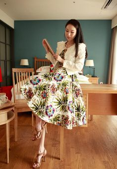 Wholesale Floral Print Retro Style Scoop Neck Sleeveless Chiffon Dress With Belt For Women (AS THE PICTURE,S), Print Dresses - Rosewholesale.com