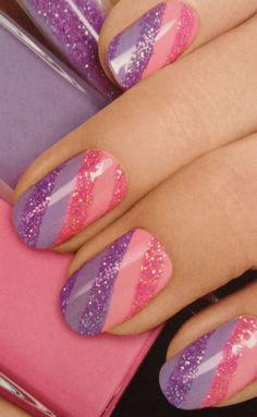 Pink and purple glitter nail art