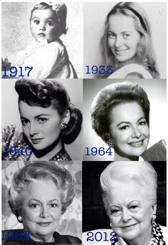 Olivia de Havilland in 1917, 1933 (Alice in Wonderland Stage Performance), 1940, 1964 (Lady In A Cage), 1988, and 2012