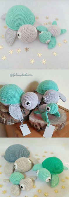 Amigurumi Sea Turtle Crochet Pattern Printable PDF   Crocheted Turtle Family #ad #amigurumi #amigurumidoll #amigurumipattern #amigurumitoy #amigurumiaddict #crochet #crocheting #crochetpattern #pattern #patternsforcrochet #printable #instantdownload #turtle #seaturtle