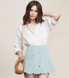So, we whipped up our dream mini skirt and we hope you like it as much as we do. The Abigail Skirt is a scallop hem mini skirt with seamed panels and buttons. Skirt Outfits, Casual Outfits, Look Fashion, Womens Fashion, Spring 2015 Fashion, Romper With Skirt, Alternative Outfits, Spring Outfits, Winter Outfits
