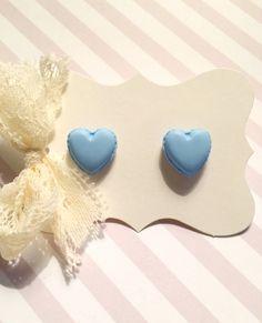 Pastel Blue Heart Stud Earrings by strawberriesncreamm on Etsy