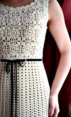 Handmade crocheted dress from cotton crochet clothing Crochet Wedding Dress Pattern, Crochet Wedding Dresses, Wedding Dress Patterns, Vintage Crochet Patterns, Crochet Jacket, Handmade Dresses, Cotton Crochet, Crochet Clothes, Knit Dress