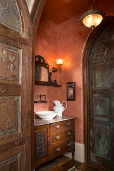 guest powder room wall color? Tuscan Villa - traditional - powder room - houston - Ellis Custom Homes LLC