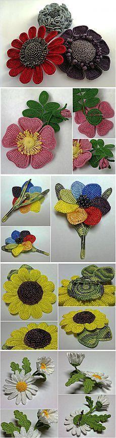 Interesante trabajo en flores de ganchillo que hace punto.: