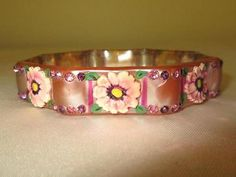 Rare Shape Vtg PAINTED CELLULOID PINK PURPLE FLOWERS Rhinestone Bangle Bracelet in Jewelry & Watches, Vintage & Antique Jewelry, Costume, Bakelite, Vintage Plastics, Bracelets | eBay