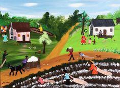 Lisa Cain Folk Art, Black Folk Art - Fishing and Country Life