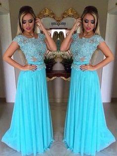 Popular Scoop Neck Chiffon Appliques Lace Blue Short Sleeve Prom Dress #JCD020102227