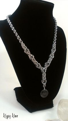 Caged Labradorite Byzantine Chainmaille Necklace by GypsyGrove, $25.00