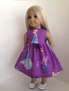 Frozen Inspired Doll Dress and Sash for the American Girl Dol by TheWhimsicalDoll2