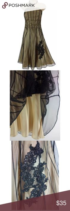 Selling this 14 Large GOLD/BLACK STRAPLESS MESH EVENING DRESS on Poshmark! My username is: sexycurvygirls. #shopmycloset #poshmark #fashion #shopping #style #forsale #Sangria #Dresses & Skirts