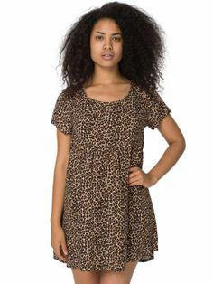 American Apparel Printed Rayon Challis Babydoll Dress X-small Leopard