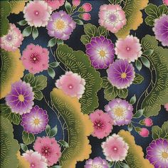 Asian: Small Flowers in Black Fabric