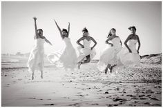 After the last friend gets married, everyone puts on their wedding gowns one last time for a photo shoot.