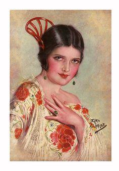 Spanish Gypsy by Earl Christy. Vintage Prints, Vintage Posters, Vintage Art, Historia Do Radio, Jesus Helguera, Spanish Gypsy, Spanish Art, Pelo Vintage, Vintage Hair Combs