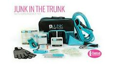 Junk In The Trunk auto emergency kit.  Its a steal at just $65.  Jumper cables, took kit, ice/snow scraper, whistle, LED flashlight, first aid kit, 2 each rain poncho and thermal blanket, waterproof matches in carryall bag.  A must have for any driver.  Mydamselpro.net/pro12617