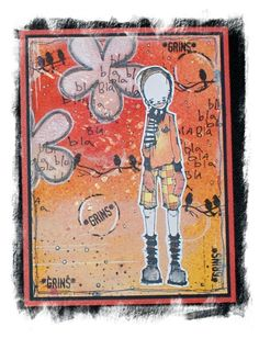 Artwork created by Steffi Breuer using rubber stamps designed by Daniel Torrente for Stampotique Originals