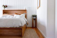 Al and Imo Custom Timber Furniture Scandi Bedside Table, Bedside Table Design, Timber Bed Frames, Timber Beds, Timber Furniture, Pallet Furniture, Furniture Ideas, Bookshelf Headboard, Bookshelves