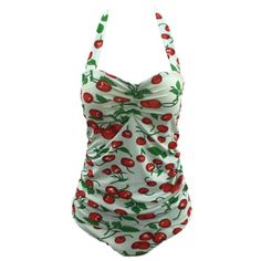 Fruit Print Halter Tankini Plus Size Swimwear