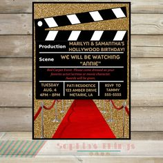 Movie Party Invitation, Hollywood Movie Birthday Party Invitation, Red Carpet Event Party Invitation, Black Red and Gold Glitter, Movies by SophiasThings on Etsy https://www.etsy.com/listing/240308581/movie-party-invitation-hollywood-movie