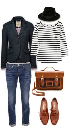 Business casual work outfit: charcoal blazer, white & black striped top, skinny jeans, cognac accents. I'd go with darker, less distressed jeans for work. Office days or casual Friday.