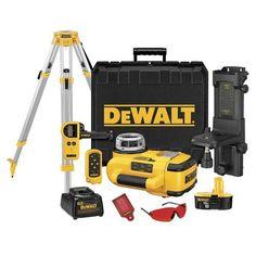 DEWALT DW079KDT 18-Volt Self-Leveling Rotary Laser Kit with Laser Detector and Tripod