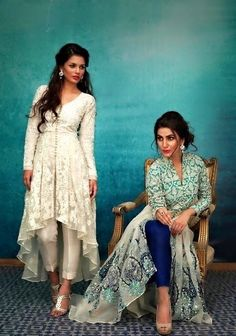 Nida Azwer, Eid Collection, S/S 2015 - High Fashion Pakistan //fancy ass high low anarkali things with the pant thing India Fashion, Ethnic Fashion, Asian Fashion, High Fashion, Pakistan Fashion, Fashion Check, Fashion Men, Fashion Outfits, Mode Bollywood