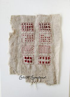 Hand embroidery on vintage linen, Sampler, red thread, one of a kind